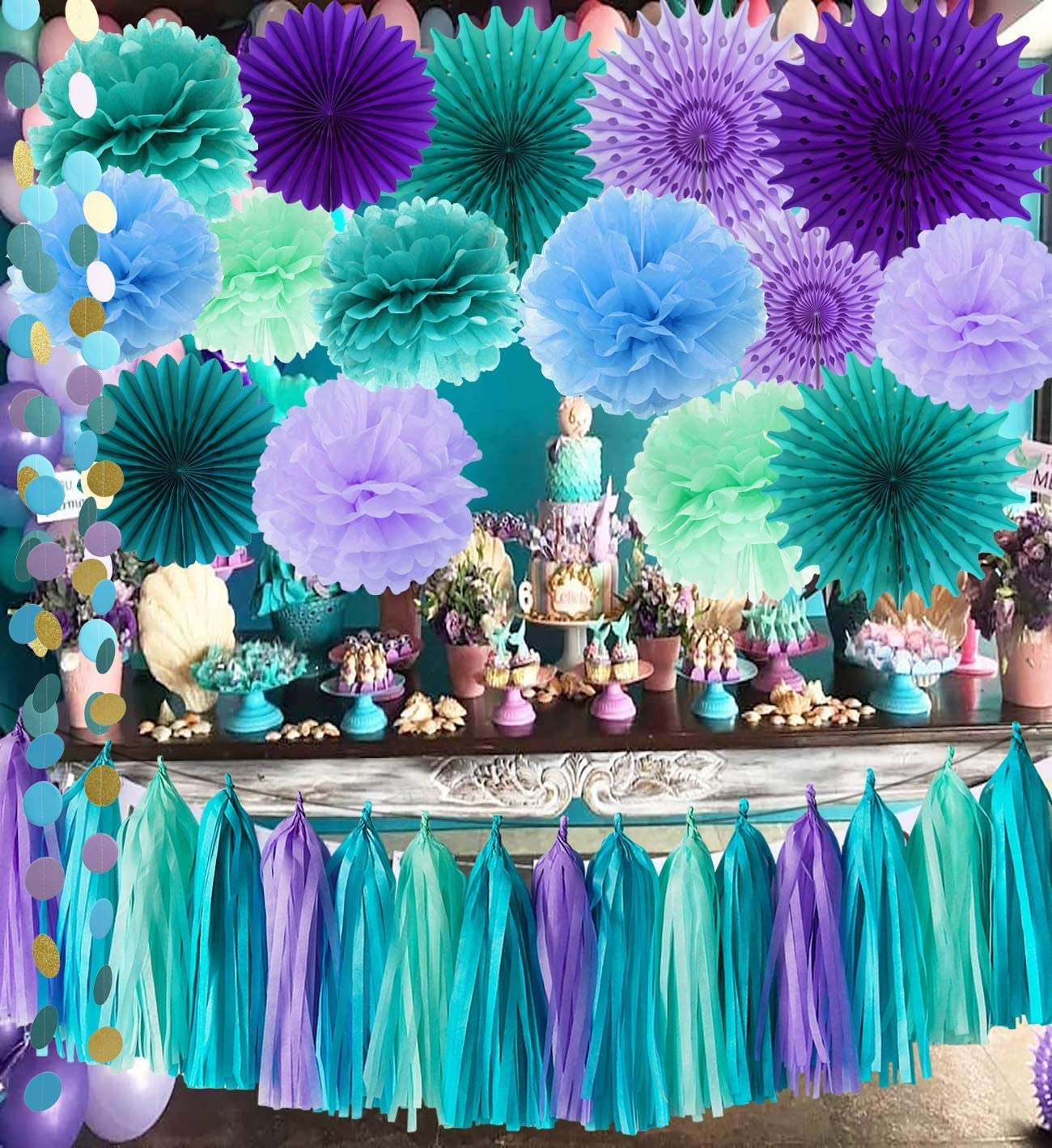 Mermaid Birthday Party Decorations/Under The Sea Party Teal Purple Blue Mint Tissue Pom Poms Paper Fans Baby Shower Decorations Purple Mermaid Birthday Party Supplies/Mermaid Bridal Shower Decor
