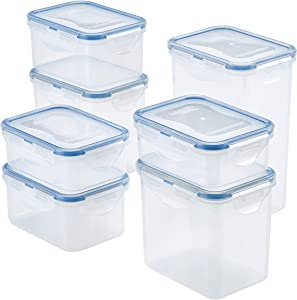 LOCK & LOCK Easy Essentials Food Storage lids/Airtight containers, BPA Free, 14 Piece - Tall Rectangle, Clear