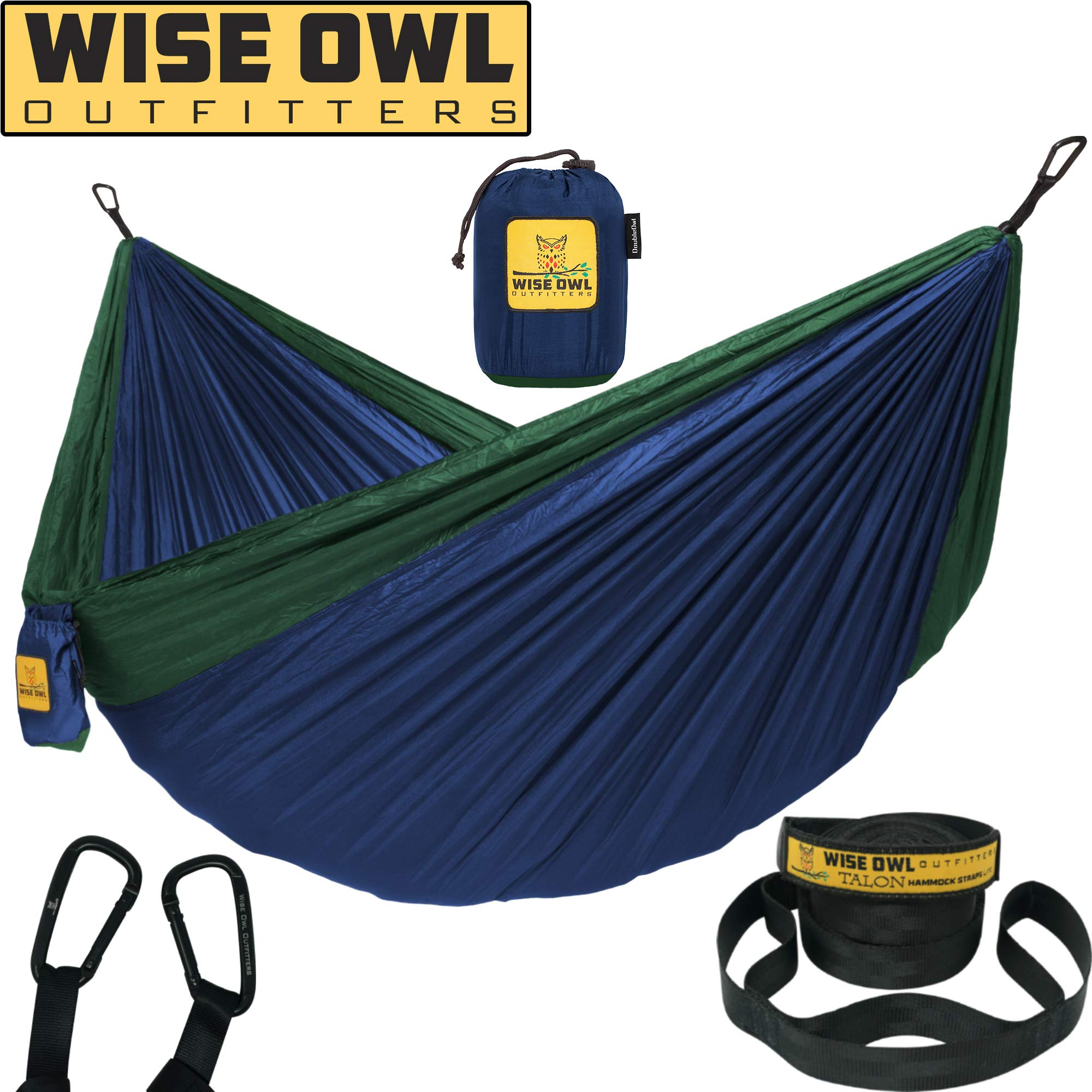Wise Owl Outfitters Hammock Camping Double & Single Tree Hammocks - USA Based Brand - Indoor Outdoor Backpacking Survival & Travel, Portable (DO Navy Blue & Forrest Green, DoubleOwl)