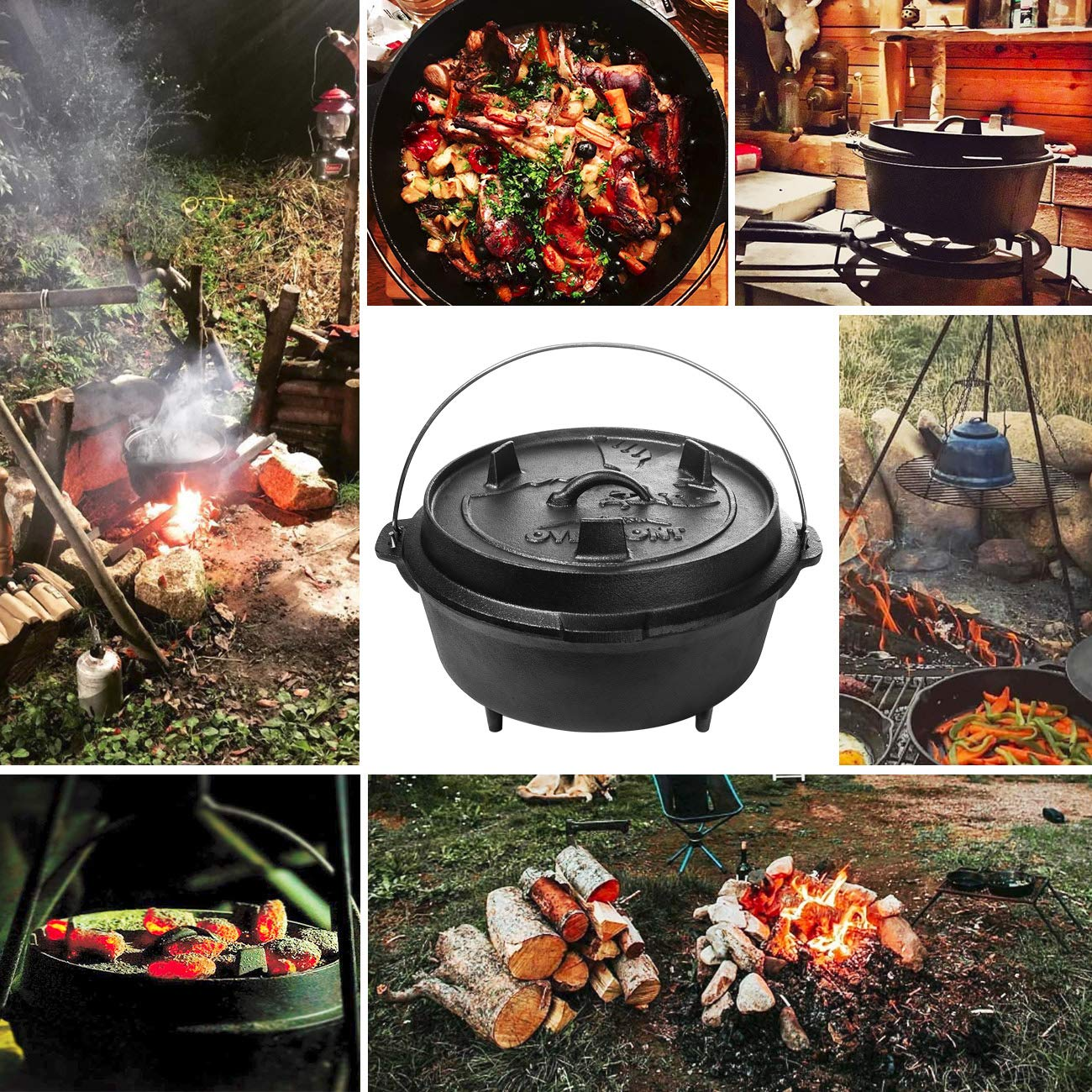 Overmont 9 Quart All-Round Dutch Oven【Dual Function : Lid Skillet】【with Lid Lifter】【Pre Seasoned】 Cast Iron Dutch Oven for Camping Cooking BBQ Baking by Overmont (Image #5)