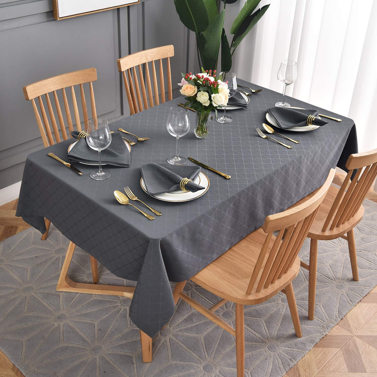 maxmill Jacquard Poly-Cotton Tablecloth Geometric Pattern SpillProof, Water Resistant Wide Hem Heavy Weight Soft Table Cloth for Kitchen Dining Tabletop Decoration Rectangle, Charcoal, 58x84 Inch
