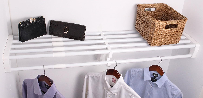 """EZ Shelf Expandable Closet Shelf & Rod with No Brackets, 40""""-73"""", White (EZS-SCRW72)"""