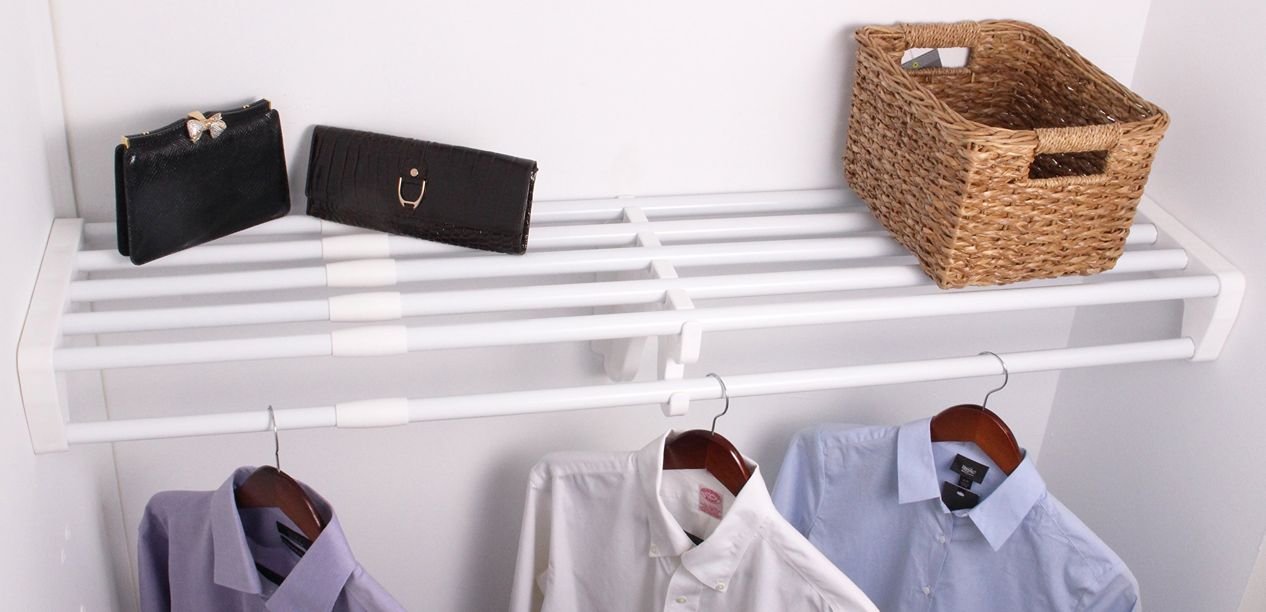 EZ Shelf - 28'' - 48'' Expandable Closet Shelf & Rod - White - No Brackets- For Mounting to Two Sidewalls