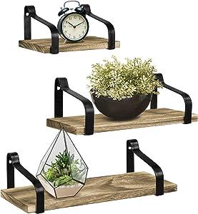 Greenco Rustic Wood Wall Mounted Floating Shelves (Set of 3)