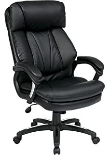 high back brown leather executive office chair with leather padded loop arms. office star oversized faux leather executive chair with padded loop arms, black high back brown arms