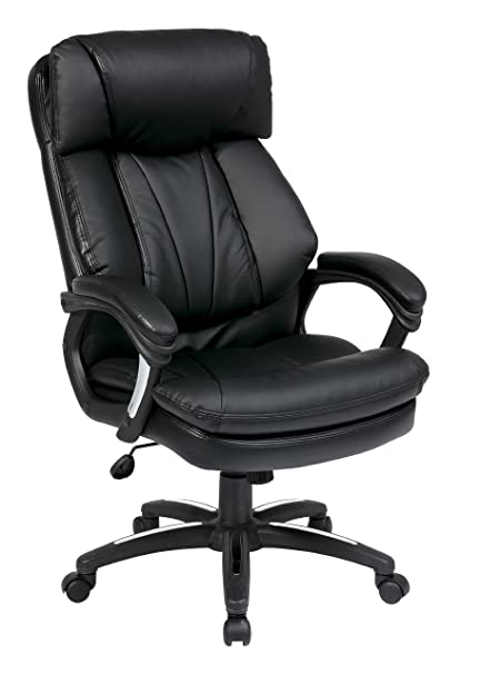 Superieur Office Star Oversized Faux Leather Executive Chair With Padded Loop Arms,  Black