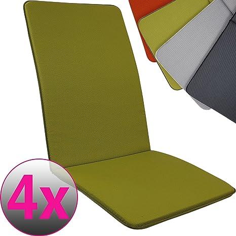 Proheim SET x4 Cojines Pisa para sillas de jardín exterior con respaldo alto 113 x 47 cm - Cojín relleno de espuma disponible en varios colores, ...