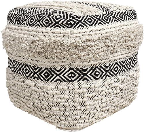 Pasargad Home Grandcanyon Cotton Pouf Ivory/Black
