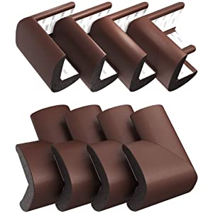 Soft Corner Guards (12-Pack) by Skyla Homes - Best for Baby Proofing Sharp Edged Spaces, Multi-Purpose 3M Furniture Protector - Edge Safety Protectors, Table Foam Covers Bumpers, Bed Cushions (Brown)