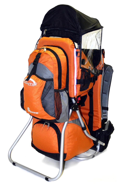 M MONTIS OUTDOOR MONTIS HOOVER - Rückentrage Kinder - Wandertrage-Rucksack-System mit einstellbarem Sitz, stabilem Tragesitz grau