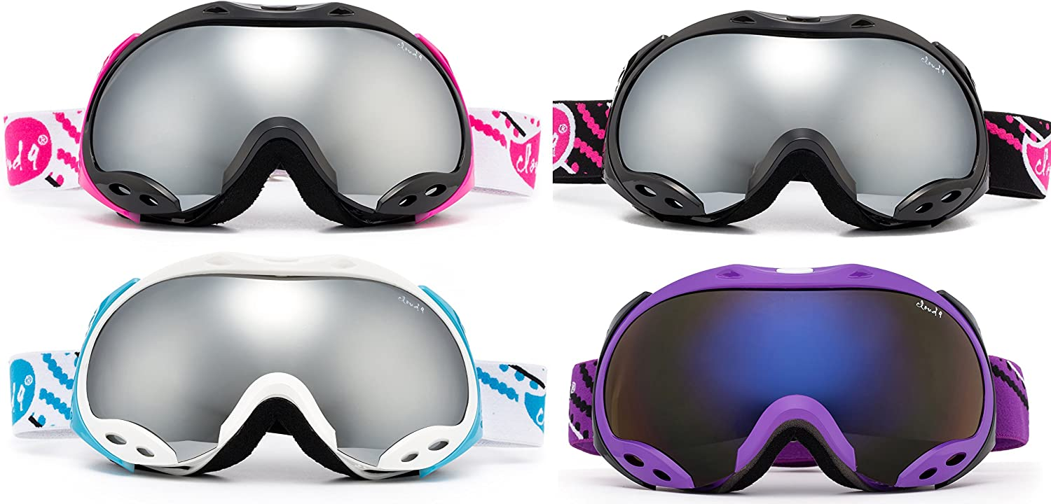 Cloud 9 – Women Snow Goggles Japan Air Adult Anti-Fog Double Dual Lens UV Protection Wide Angle Mirrored Lens Snowboarding Ski Goggles 1 Pair Only, Choose Your Color