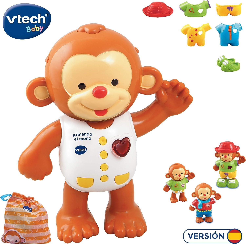 VTech - Armando el mono, Monito interactivo para aprender a vestirlo, enseña los colores, hábitos para vestirse, emociones, sentimientos y estimula los sentidos del tacto,auditivo y visual (80-129622): Amazon.es: Juguetes y juegos