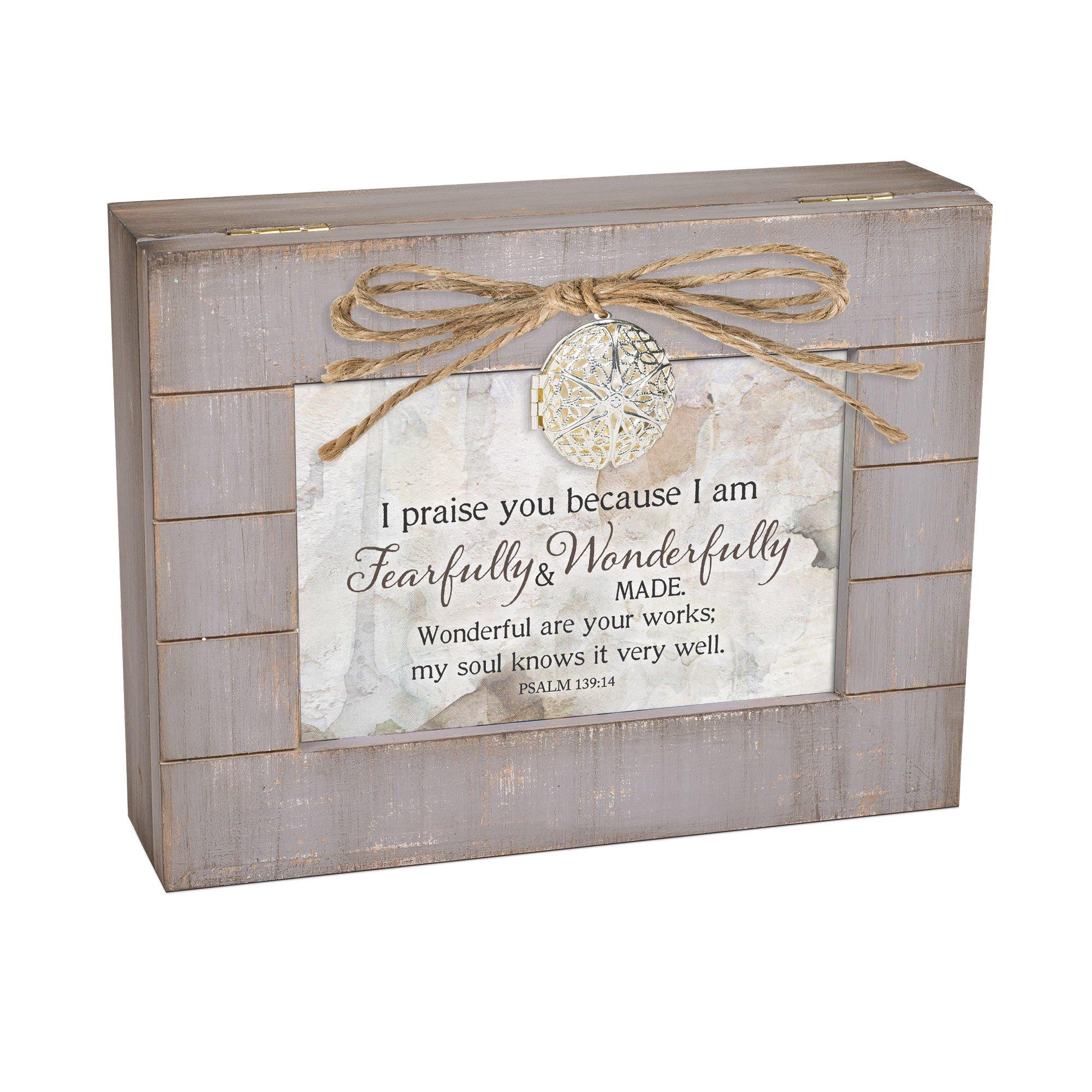 Cottage Garden Fearfully Wonderfully Made Grey Distressed Locket Music Box Plays Amazing Grace