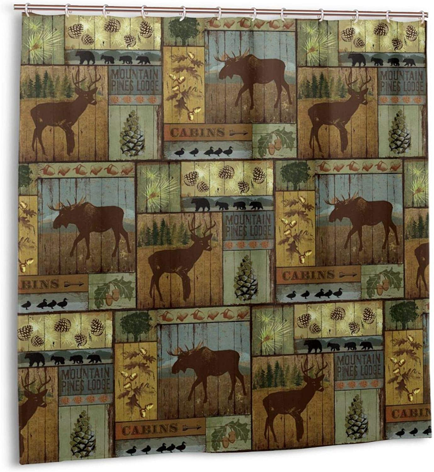 Retro Rustic Shower Curtain, Cabin Lodge Nature Wildlife Design Polyester Fabric Bath Curtains, Bear Moose Deer Bathroom Accessories Curtain Sets With Hooks 72x72 Inch