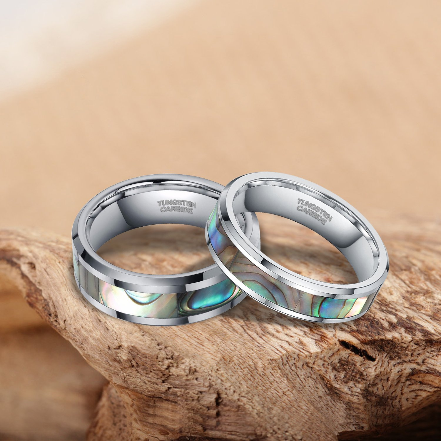 8mm Abalone Shell Tungsten Rings Comfort Fit Mother of Peal Men Women Wedding Band Size 9.5 by Shuremaster (Image #2)