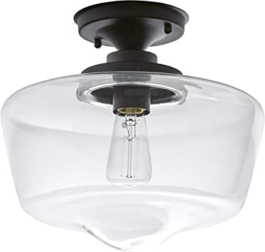 Amazon Brand Stone Beam Schoolhouse Semi Flush Mount Ceiling Fixture With Light Bulb And Clear Glass Shade 11 X 11 X 10 5 Inches Matte Black Amazon Com