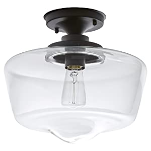 "Stone & Beam Schoolhouse Semi-Flush Mount Ceiling Light, 10.5""H, With Bulb, Matte Black with Glass Shade"