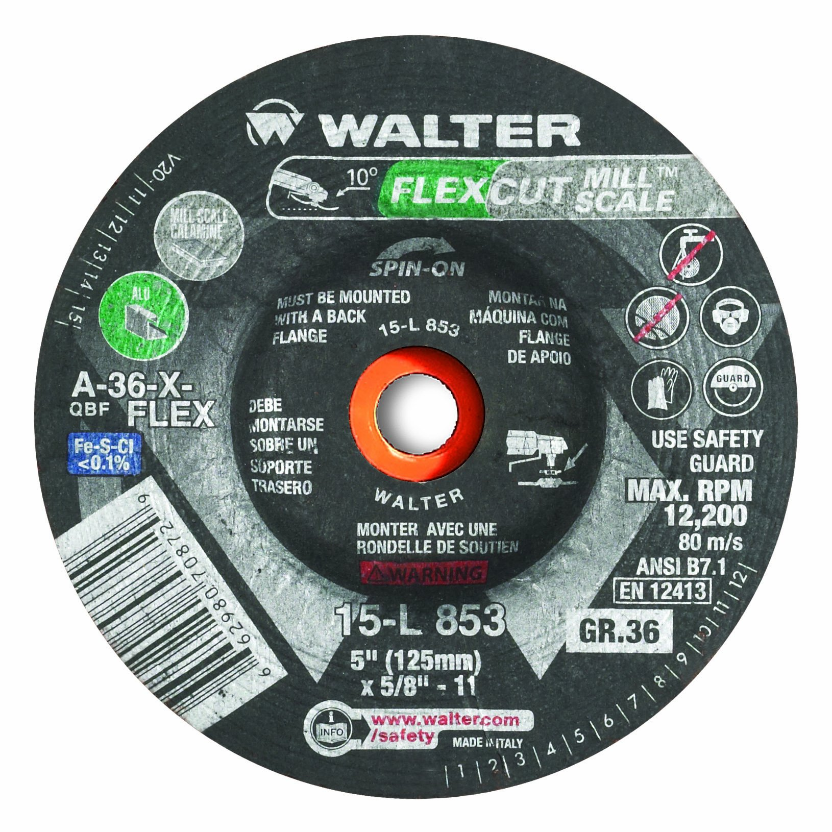 Walter Flexcut Mill Scale Premium Performance Flexible Grinding Wheel, Threaded Hole, Aluminum Oxide, 4-1/2'' Diameter, 3/16'' Thick, 5/8''-11 Arbor, Grit A-36-FLEX (Pack of 25)