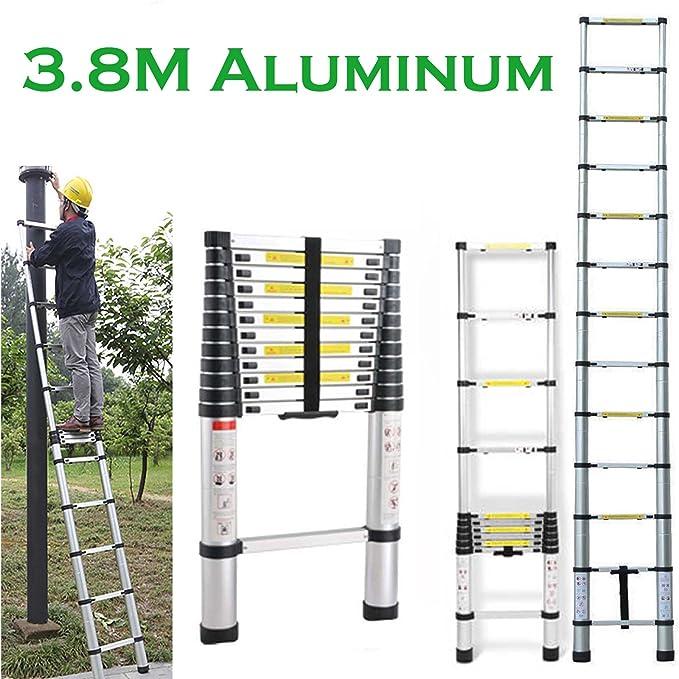 3,8 m escalera telescópica de aluminio Multi Función plegable portátil extensible 13 pasos para casa oficina casa interior al aire libre: Amazon.es: Bricolaje y herramientas