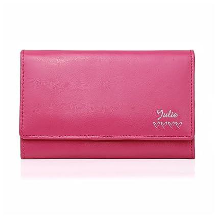 Personalizable rosa nombre y corazones piel Monedero San ...