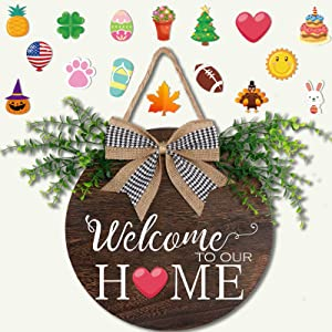 OurWarm Welcome Signs for Front Porch Seasonal Interchangeable Rustic Welcome Sign Front Door Decor for Holiday Halloween Fall Christmas Valentines Home Decorations, 12inch Hanging Porch Decor Outdoor