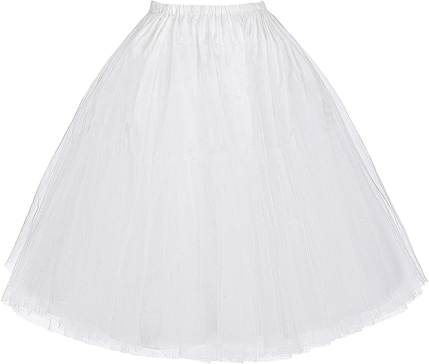 GK-Factory Store Vintage Womens 50s Rockabilly Tutu Skirt Petticoat 3 Layers Multi Colored
