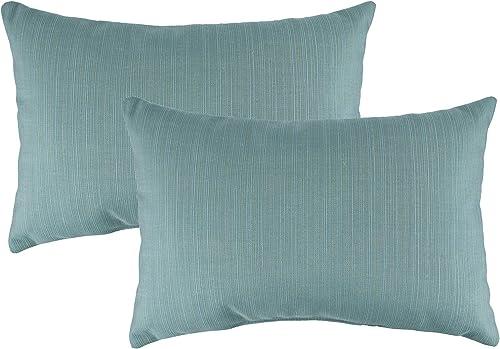 Austin Horn Classics Sunbrella Dupione Celeste Boudoir Outdoor Throw Pillows Set of 2
