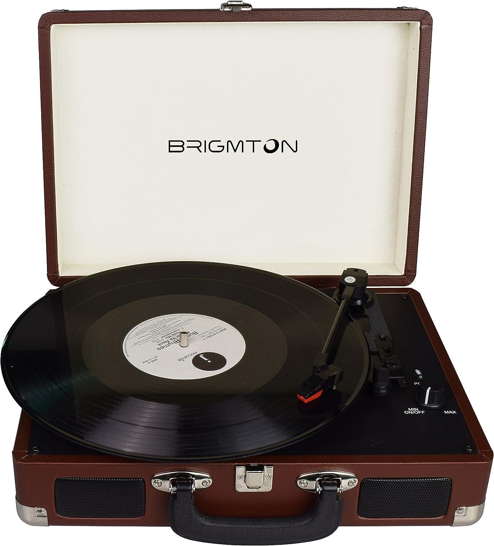 Brigmton BTC-404-M Marrón tocadisco - Tocadiscos (CC, Marrón, 2 W)