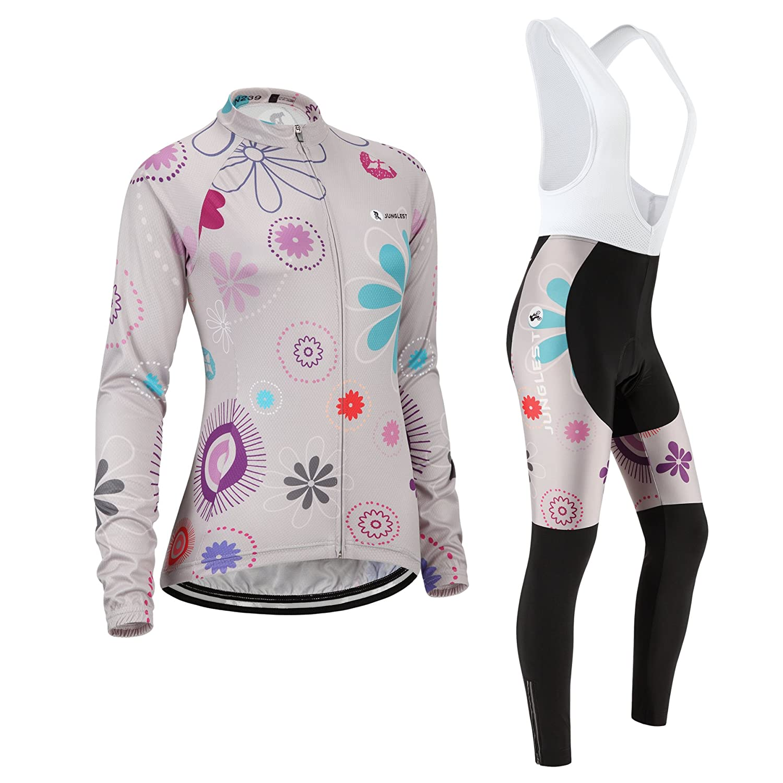 Cycling jersey Set, Maillot de Cyclisme Women Femme Long sleeve Manches Longues(S~5XL,option:bib Cuissard,3D pad Coussin) N252 junglest