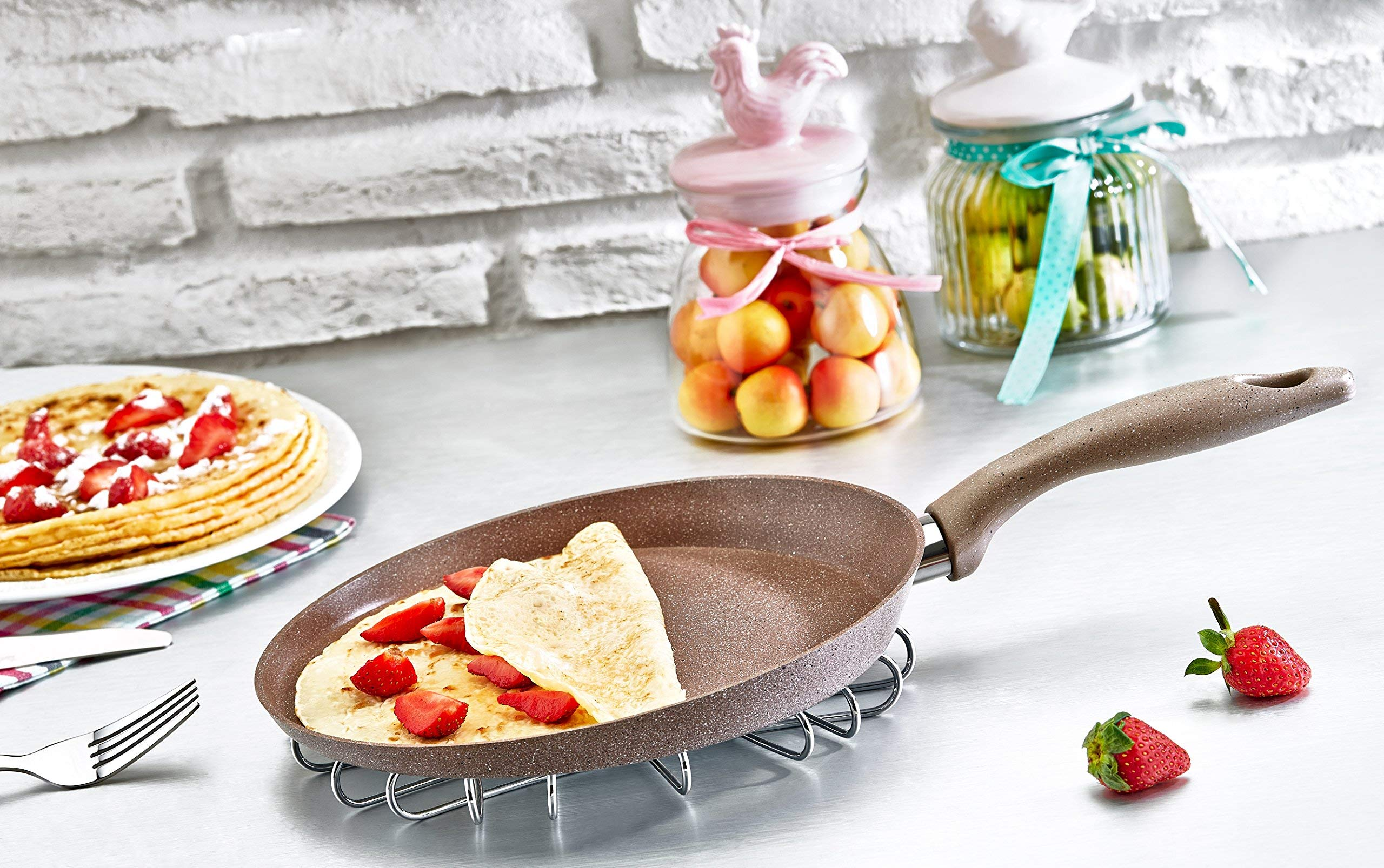 Granite Crepe Pan Non-Stick Scratch-Resistant Forged Aluminum w/ QuanTanium Coating | Even Heating Cooking Dishware (11-Inch) by SAFLON (Image #4)