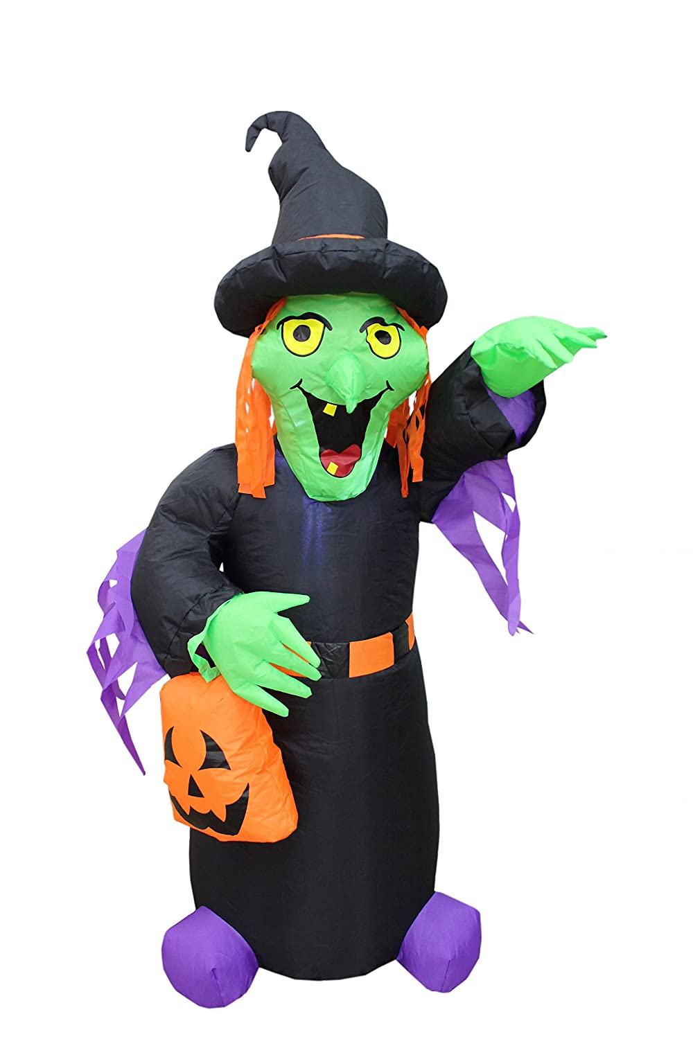 BZB Goods 4 Foot Tall Halloween Inflatable Witch with Pumpkin Bag LED Lights Decor Outdoor Indoor Holiday Decorations, Blow up Lighted Yard Decor, Lawn Inflatables Home Family Outside