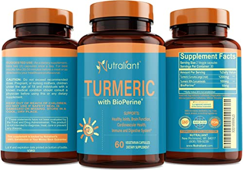 Best Turmeric Curcumin Supplement with BioPerine Black Pepper – Optimum Absorption, 95 Curcuminoids – Anti-Inflammatory Antioxidant Supplements for Joint Support Pain Relief – 60 Veggie Capsules