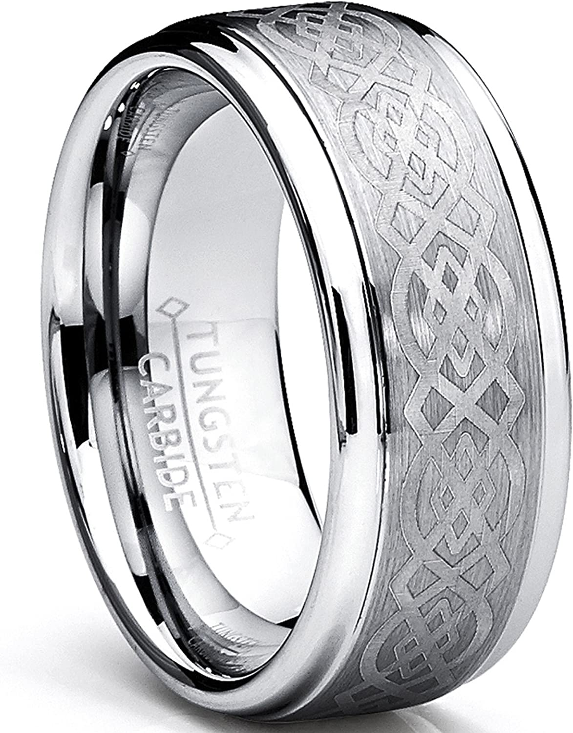 8MM Men's Tungsten Carbide Ring with Celtic Design Sizes 6 to 15