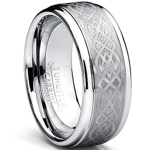Ultimate Metals® Anillo de Matrimonio Tungsteno Para Hombre, Banda Grabado Láser de Diseño Céltico