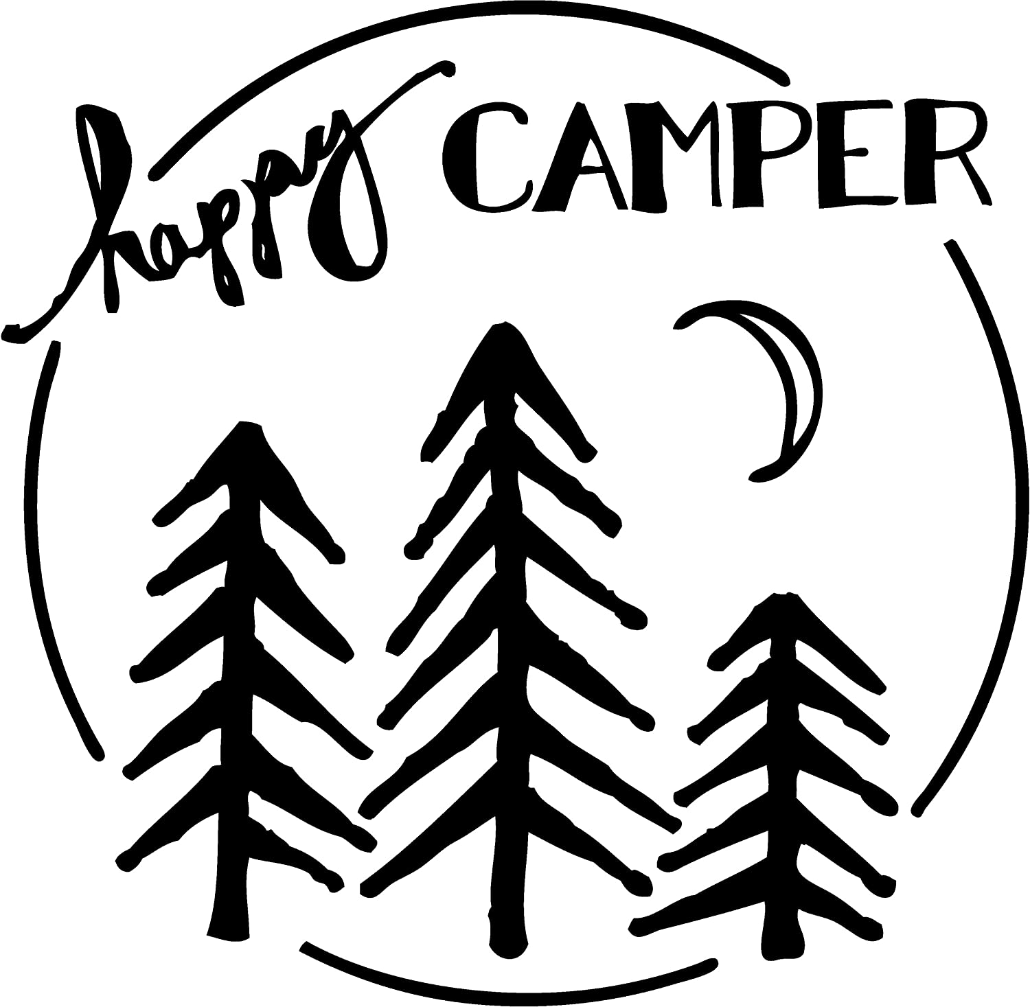 TDT Printing & Custom Decals The Happy Camper Vinyl Decal Sticker for Car or Truck Windows, Laptops etc. (Gray)