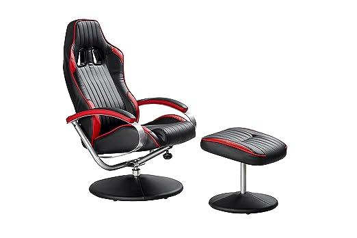 SuC Relax-sillón, Gamer-sillón Champ Negro/Rojo, Incluye ...
