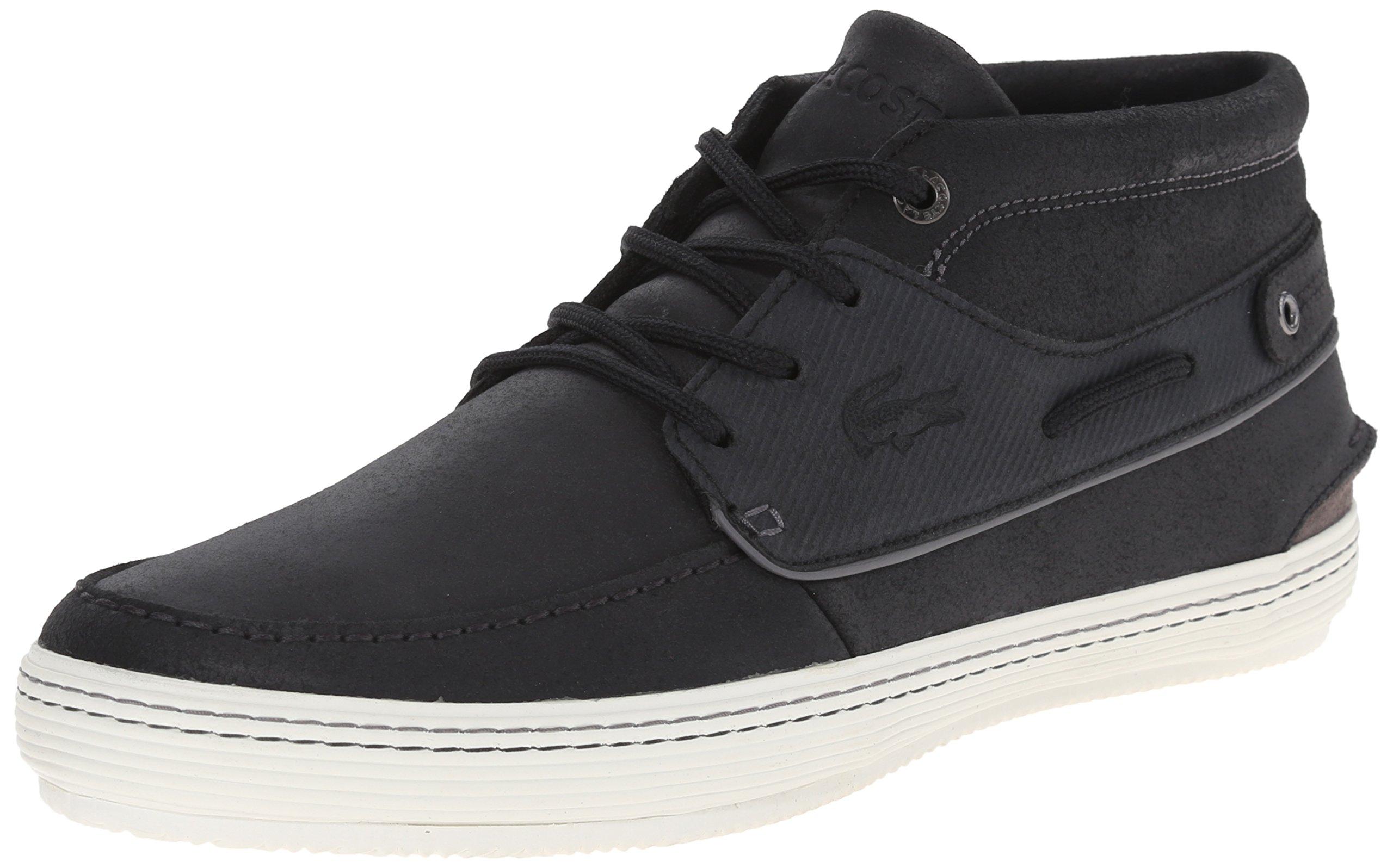 Lacoste Men's Meyssac Deck Fashion Sneaker, Black/Grey, 7.5 M US