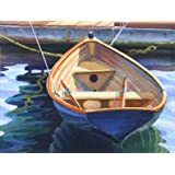 Blue Boat, a Nicely Painted Wooden Rowboat, 15 X 19 Inches