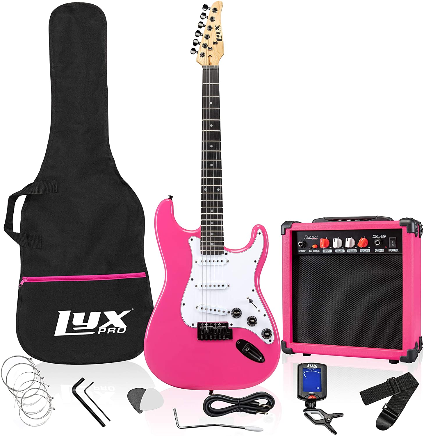 image of LyxPro electric guitar with accesories in color pink.