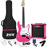 """LyxPro 39"""" inch Full Size Electric Guitar with 20w Amp, Package Includes All Accessories, Digital Tuner, Strings, Picks, Tremolo Bar, Shoulder Strap, and Case Bag Complete Beginner Starter kit - Pink"""