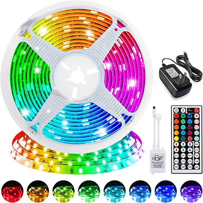 LED Strip Lights, 16.4ft RGB LED Lights Strip 5050 LED Tape Lights,Color Changing Flexible LED Strip Lights with 44 Keys IR Remote for Home Lighting Kitchen Bed Bar Led Lights DIY Home Decoration