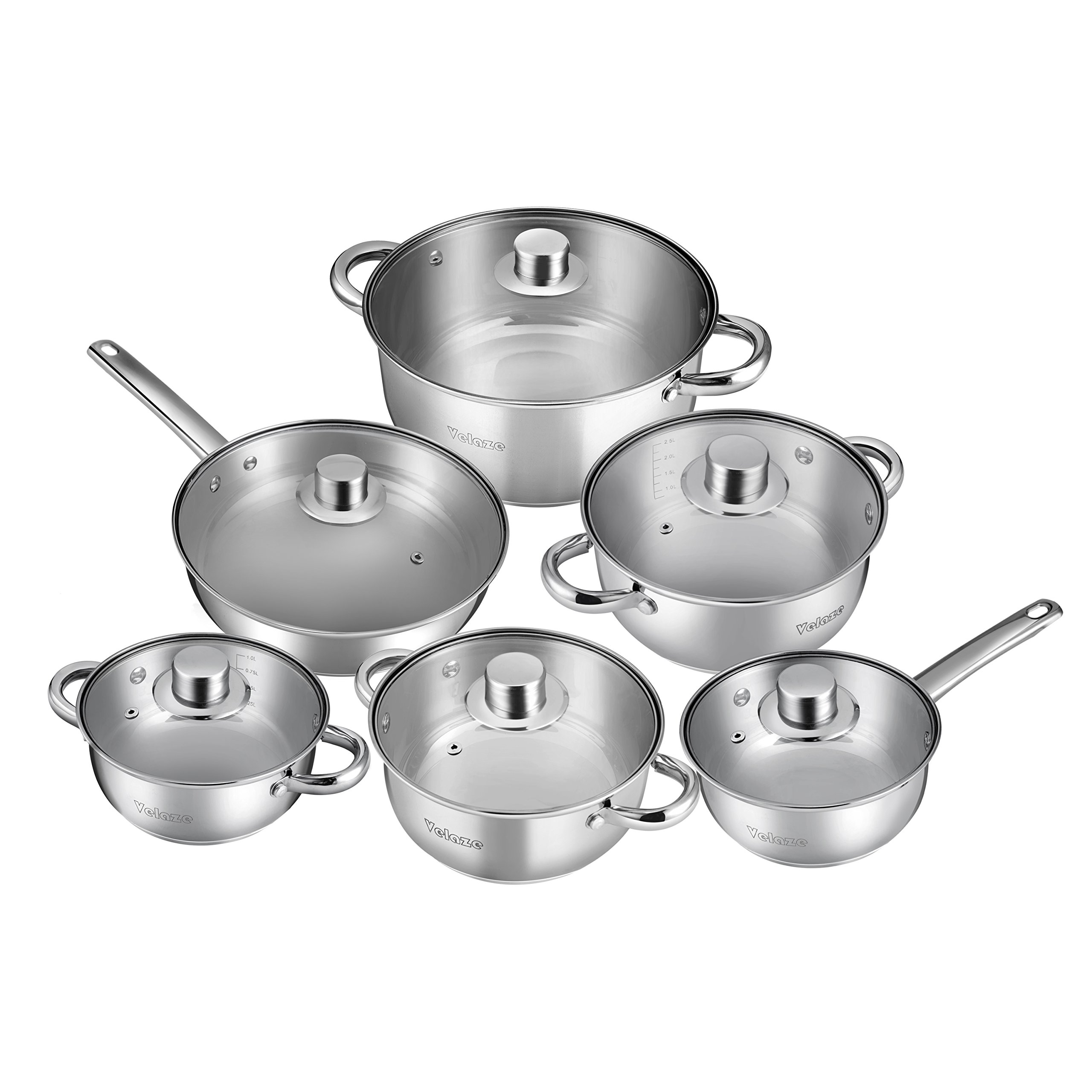 Velaze 12-Piece Stainless Steel Cookware Set, Classic Nonstick Pots & Pans Set, Dishwasher Safe Oven Safe, Silver