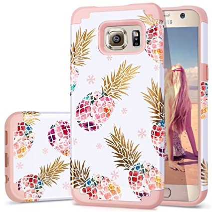 Fingic S6 Case,Pineapple Samsung S6 Case, Cute Pineapple Design Thin Case 2 in 1 Hybrid Case Hard Back&Soft Silicone Raised Edge Shock Absorption ...