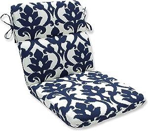 "Pillow Perfect Outdoor/Indoor Basalto Navy Round Corner Chair Cushion, 40.5"" x 21"", Blue"
