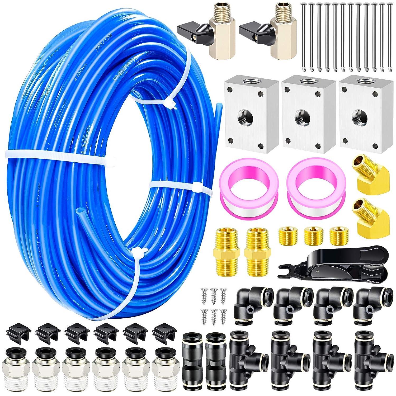 Tailonz Pneumatic Blue 1/4 Inch od 32 Meter 100ft PU Air Tubing Kit Pipe Hose Air Line Tubing Or Fluid Transfer Pneumatic tubing