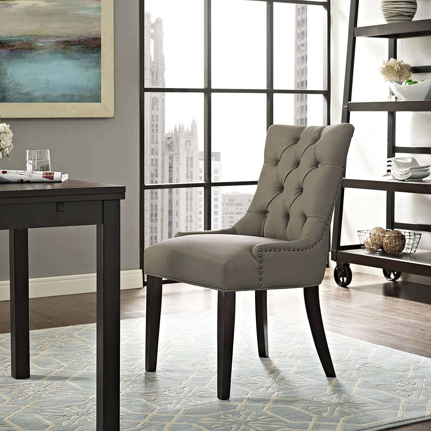 Modway Regent Modern Tufted Upholstered Fabric Kitchen and Dining Room Chair with Nailhead Trim in Granite