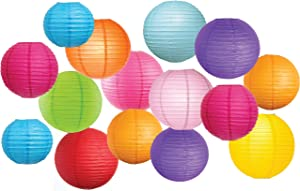 """Large Assortment of 15 Pcs Colorful Paper Lanterns (Multi-Color, Size of 8"""",10"""" 12"""") - Chinese/Japanese Paper Hanging Decorations Ball Lanterns Lamps for Home Decor, Parties, and Weddings"""