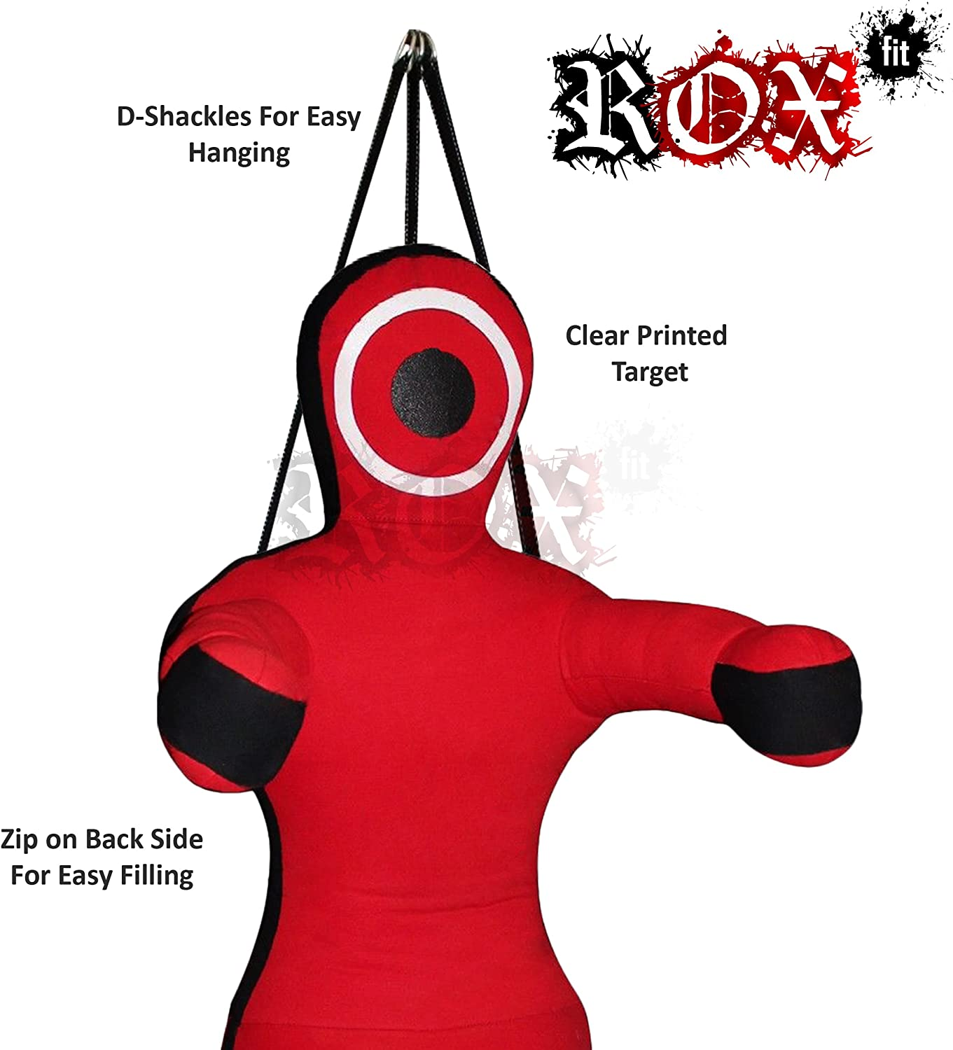 Grappling Dummy by ROX Fit MMA Punching Bag MMA Dummy Hands Front Red Black Hanging Style