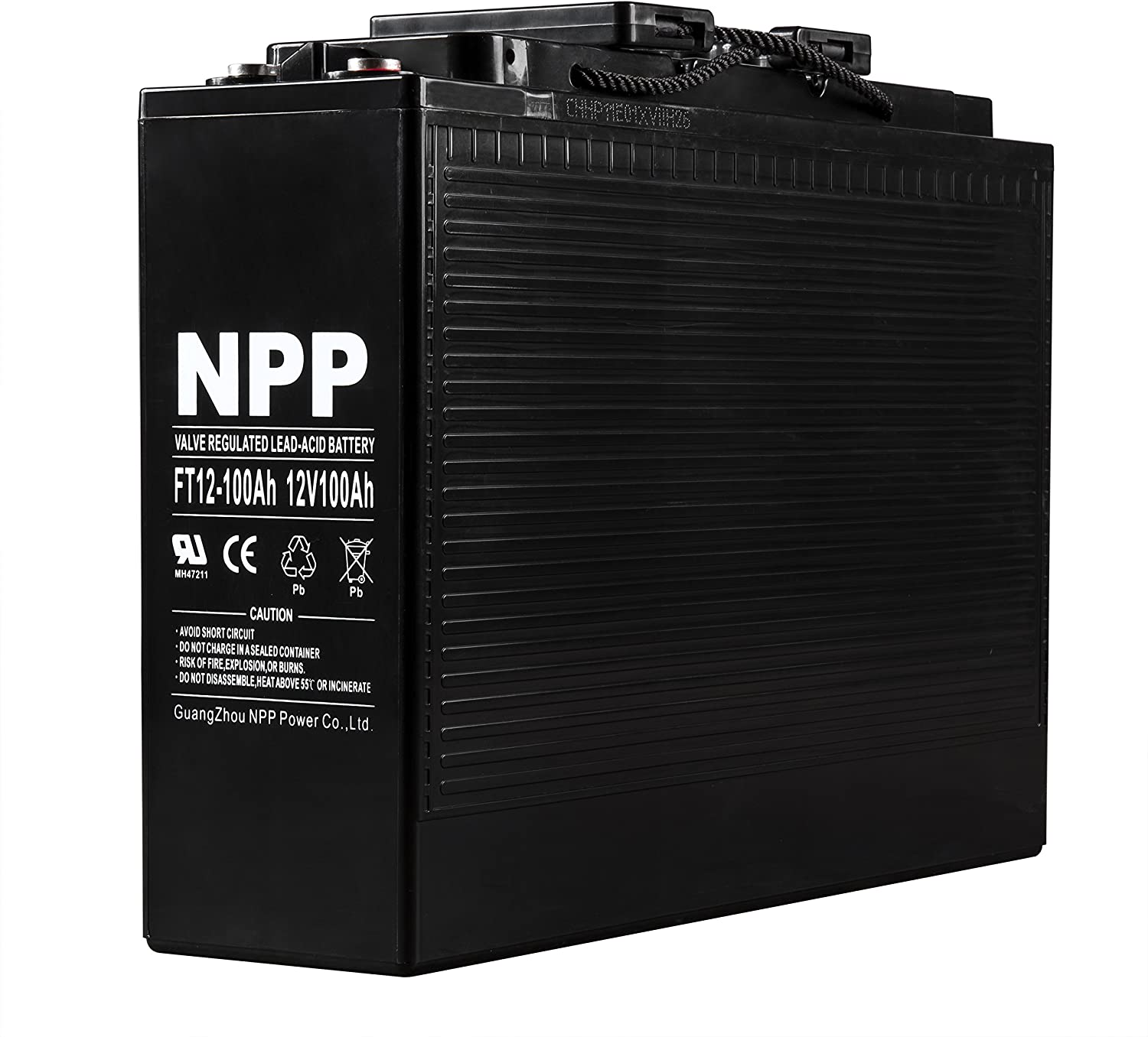 NPP FT12-100Ah Front Access Telecom Deep Cycle AGM 12V 100Ah Battery with Button Style Terminals