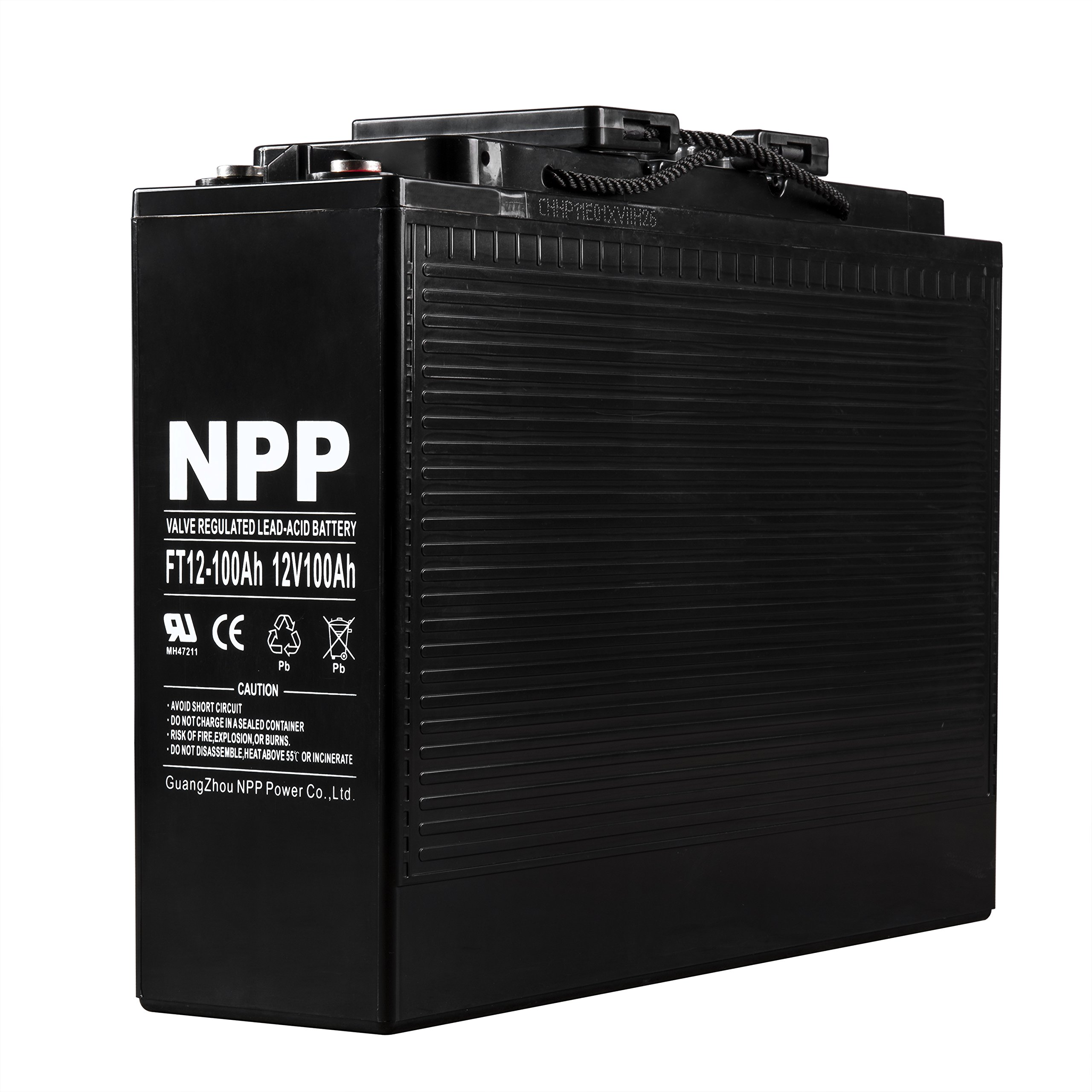 NPP 12V 100 Amp FT12 100Ah Front Access Telecom Deep Cycle AGM Battery With Button Style Terminals by NPP